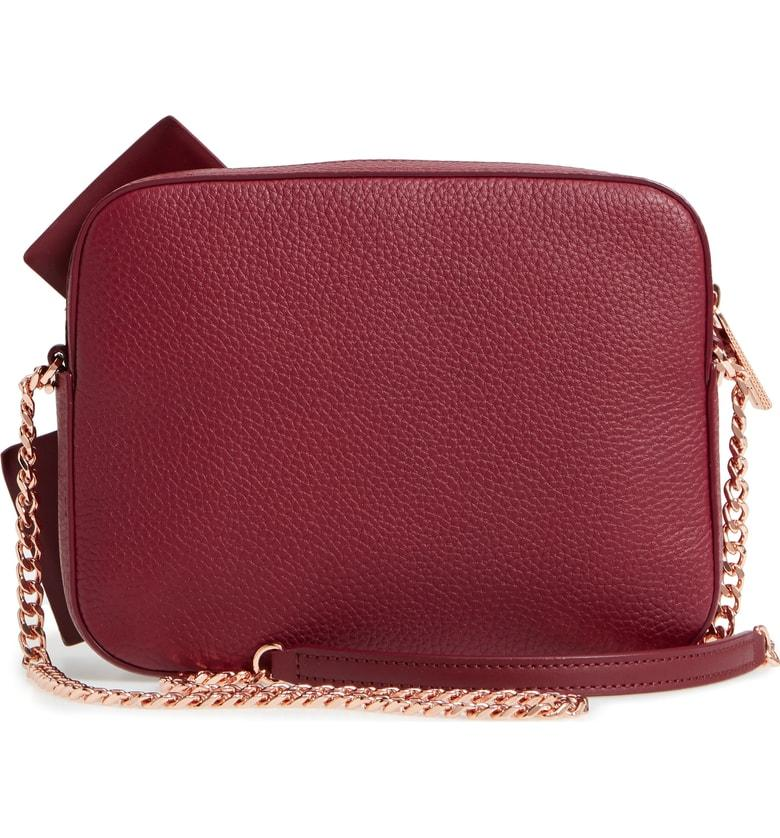 46584c94fabe Ted Baker Giant Knot Leather Camera Bag - Burgundy In Maroon