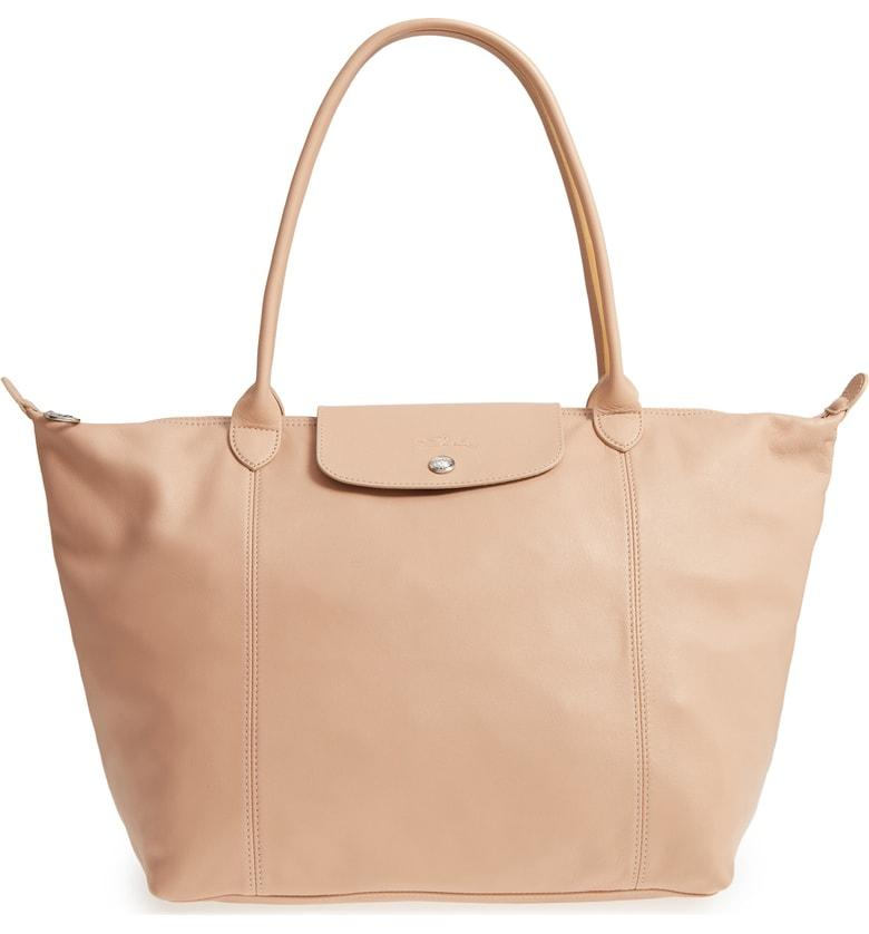 Le Pliage Cuir Leather Tote - Beige In Gold/ Beige