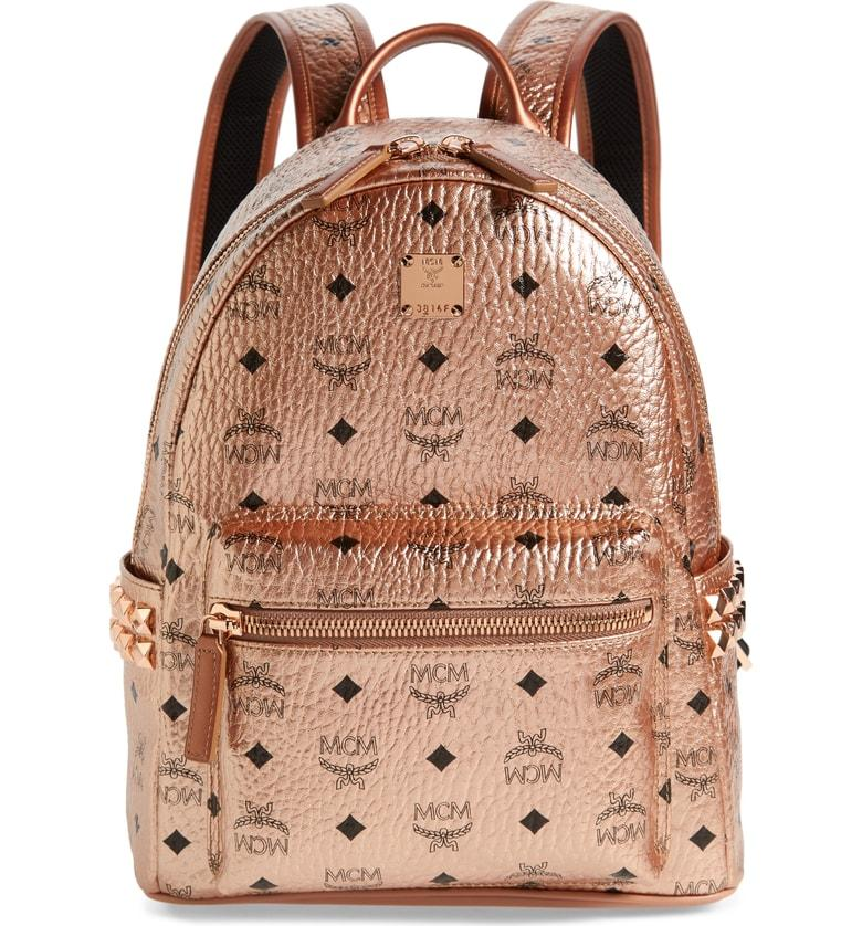 Small Stark Side Stud Coated Canvas Backpack Metallic In Champagne Gold