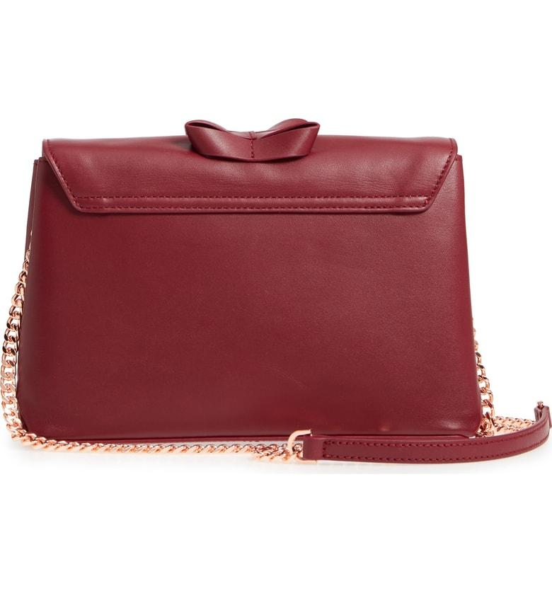 b3099046ae Ted Baker Looped Bow Leather Shoulder Bag - Burgundy In Maroon ...