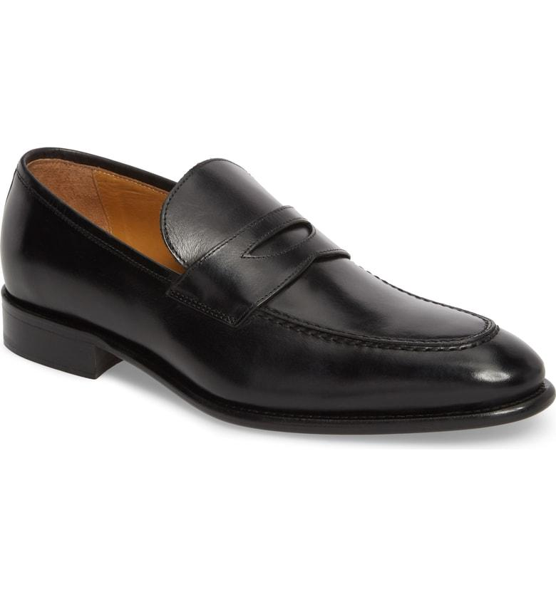 24acd51da52 Florsheim Imperial Venucci Apron Toe Penny Loafer In Black Leather ...