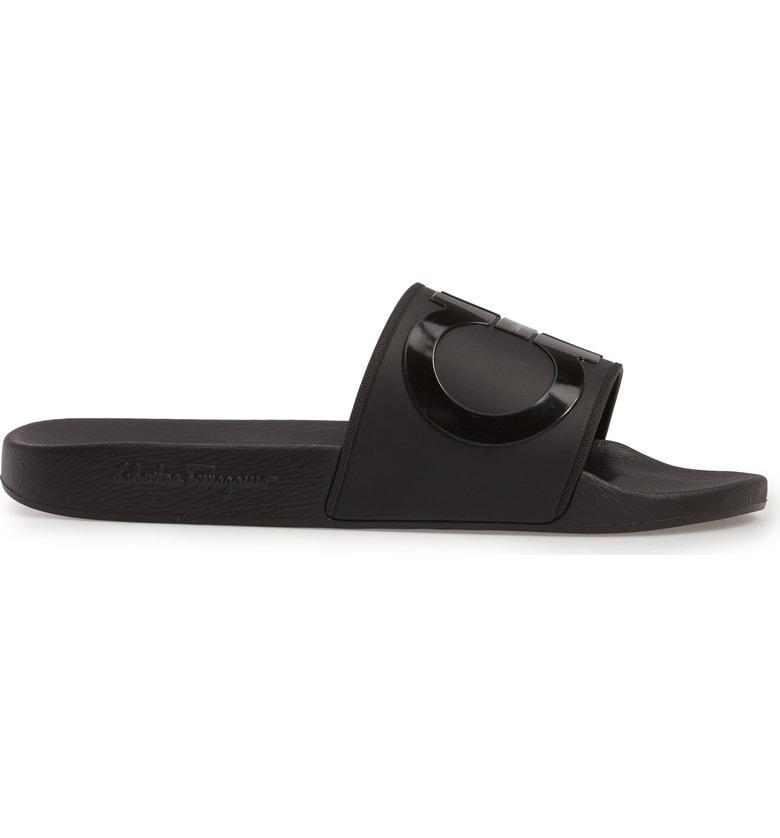 bd153a8cd54c Salvatore Ferragamo Men s Groove 2 Original Double Gancini Slide Sandals In  Black