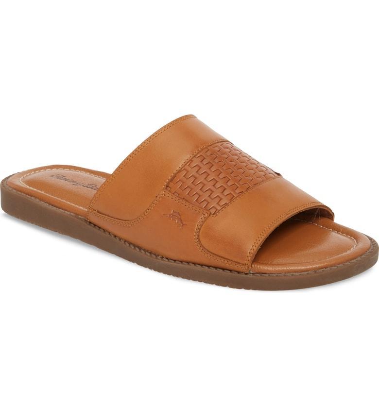 ddb86f4e9d999 Tommy Bahama Gennadi Palms Slide Sandal In Cognac Leather | ModeSens