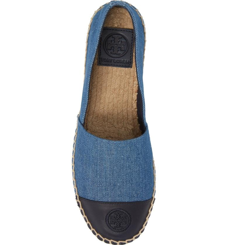 f078ef1acddb3 Tory Burch Women s Denim Color-Block Cap Toe Espadrilles In Denim Chambray Perfect  Navy