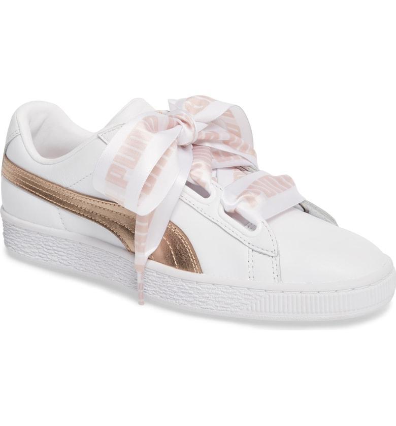 Derretido Egoísmo Disfrazado  Puma Basket Heart Sneaker In White/ Rose Gold Leather | ModeSens
