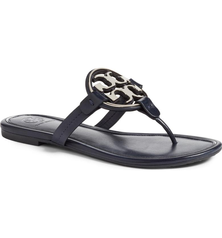 1433569ae517 Tory Burch Women s Metal Miller Leather Thong Sandals In Black ...