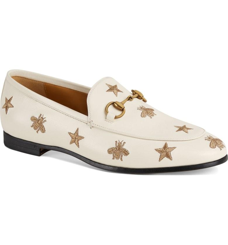 c1a61a411f9 Gucci Women s Jordaan Embroidered Leather Loafers In White