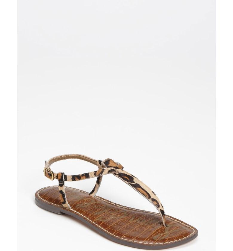 67f2b17399c1 Sam Edelman Women s Gigi Leopard Print Calf Hair Thong Sandals In New Nude  Leopard