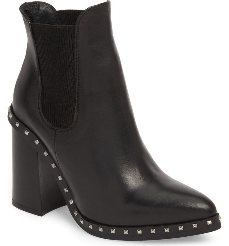 Charles David Women S Scandal Pointed Toe Studded Leather Booties In Black Leather Modesens
