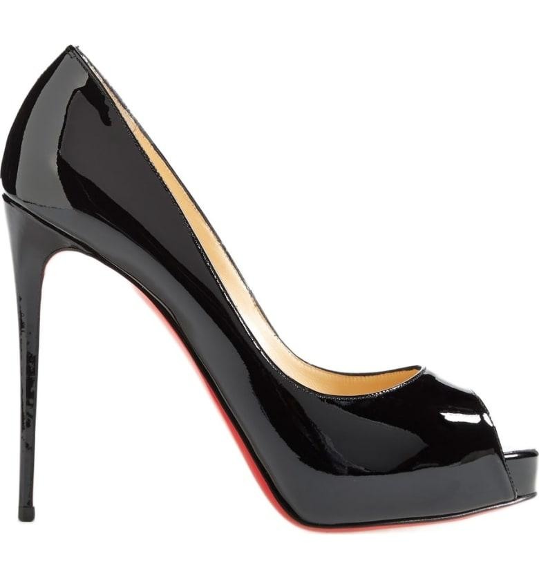 new style a76d1 bbf34 New Very Prive Patent Red Sole Pump in Black
