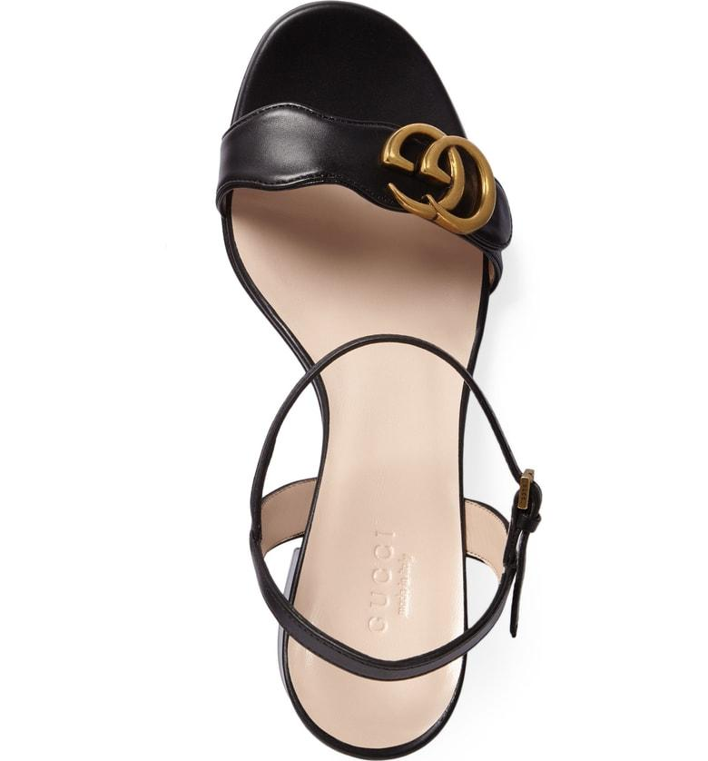 ccd9638913ac Gucci Marmont Leather Gg Block-Heel Sandals