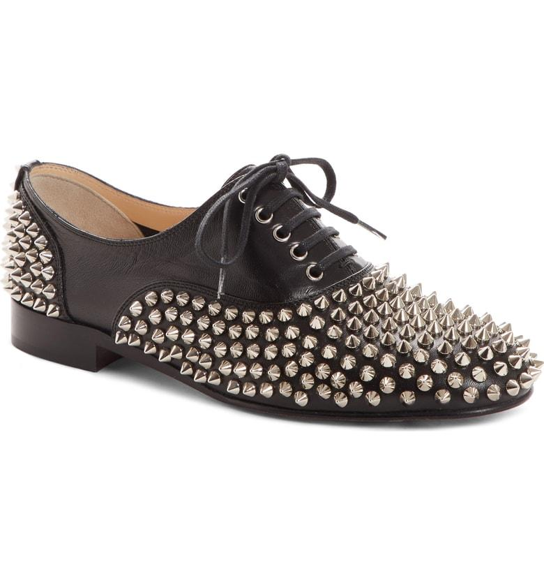 fb5bdc337e4 Christian Louboutin Freddy Spikes Donna Leather Oxfords - Black ...