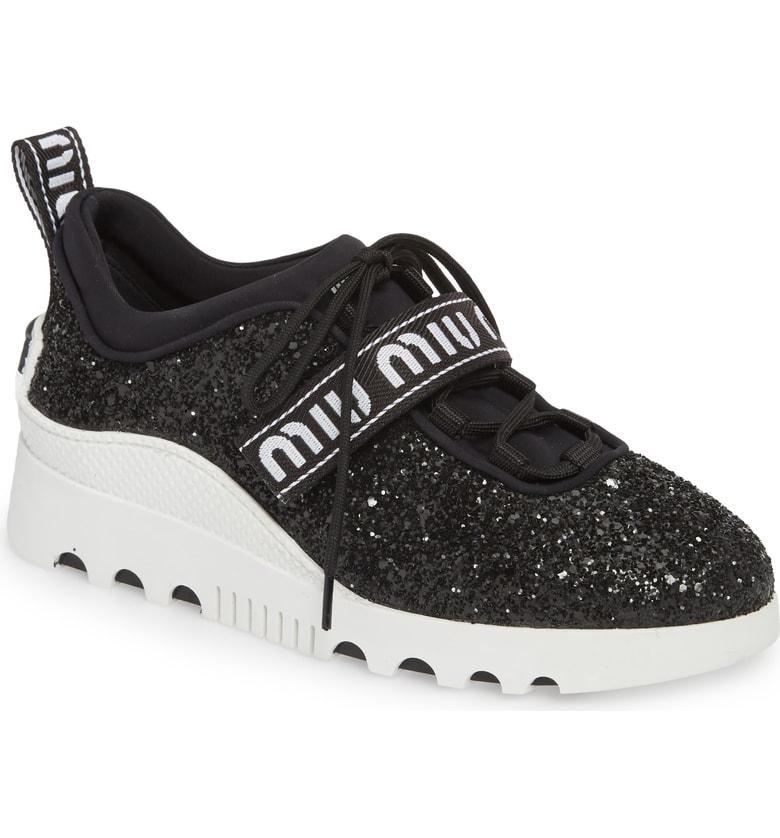 2149e0ee5aa Miu Miu Logo Strap Platform Sneaker In Black Glitter