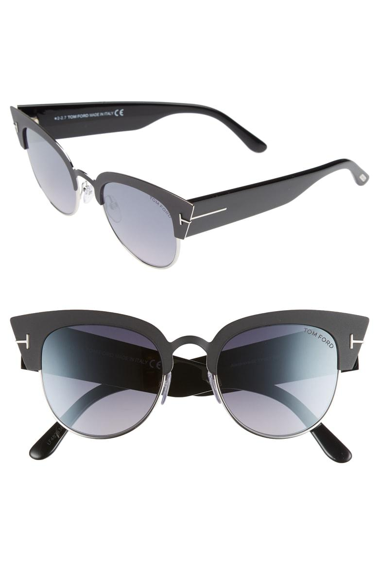 17e162c6ce Tom Ford Alexandra Semi-Rimless Cat Eye Sunglasses In Black