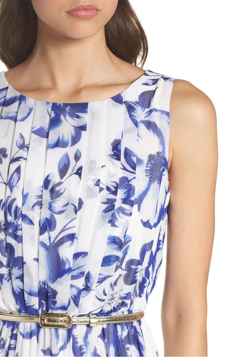 6bf8a7fecc Eliza J Pleated Floral Chiffon Maxi Dress In Cobalt | ModeSens