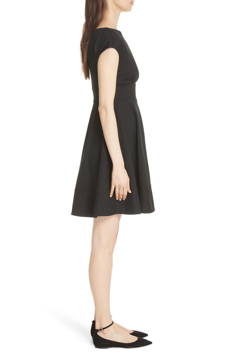 0ddd13e952a3 Kate Spade Fiorella Ponte Short-Sleeve Day Dress In Black   ModeSens