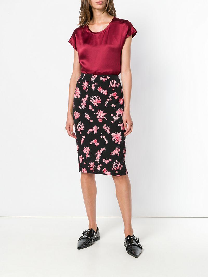 74326734837 Pinko Floral-Print Pencil Skirt - Black | ModeSens