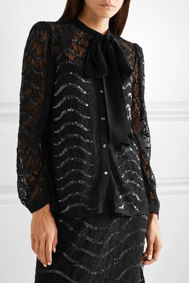 568d4632cfd112 Temperley London Panther Pussy-Bow Sequined Lace Blouse In Black ...
