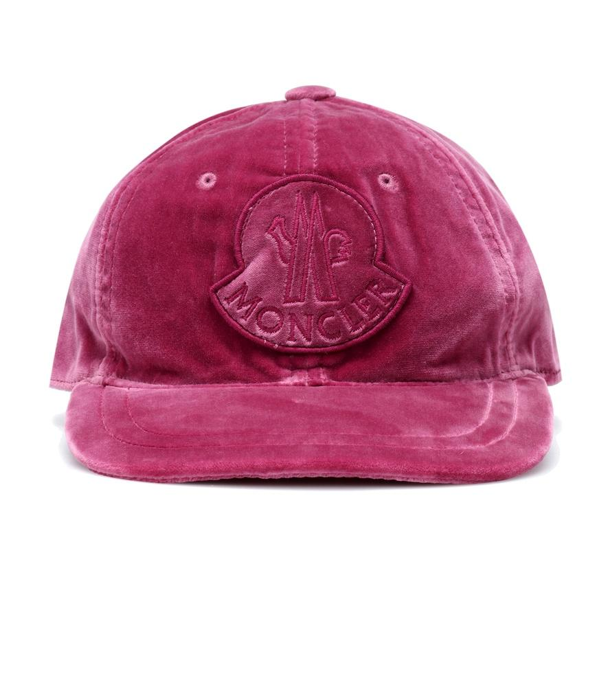 518a4bf59a9 Moncler Velvet Baseball Cap W  Logo Patch In Pink   Purple