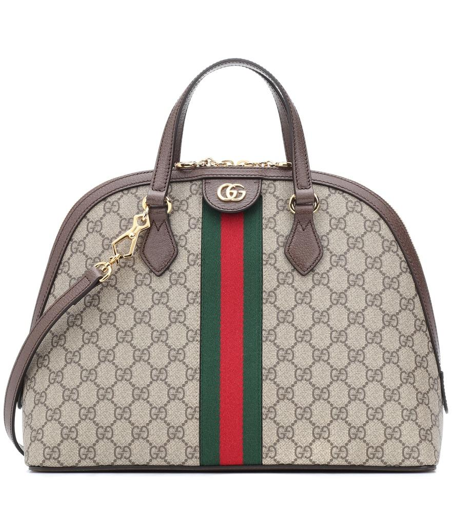 c2bff84ace2b Gucci Ophidia Textured Leather-Trimmed Printed Coated-Canvas Tote In 8745  Beige