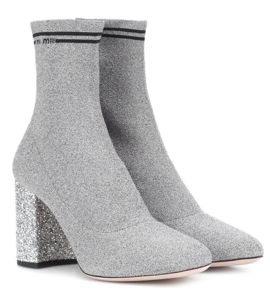 f198d92ca0a8 Miu Miu Glitter-Heel Metallic Sock Knit Booties