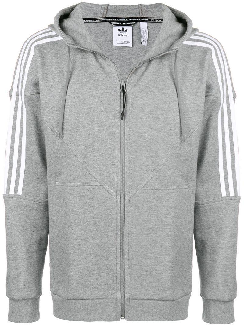 a6c04bec0 Adidas Originals Adidas Three Stripe Hoodie - Farfetch In Grey ...