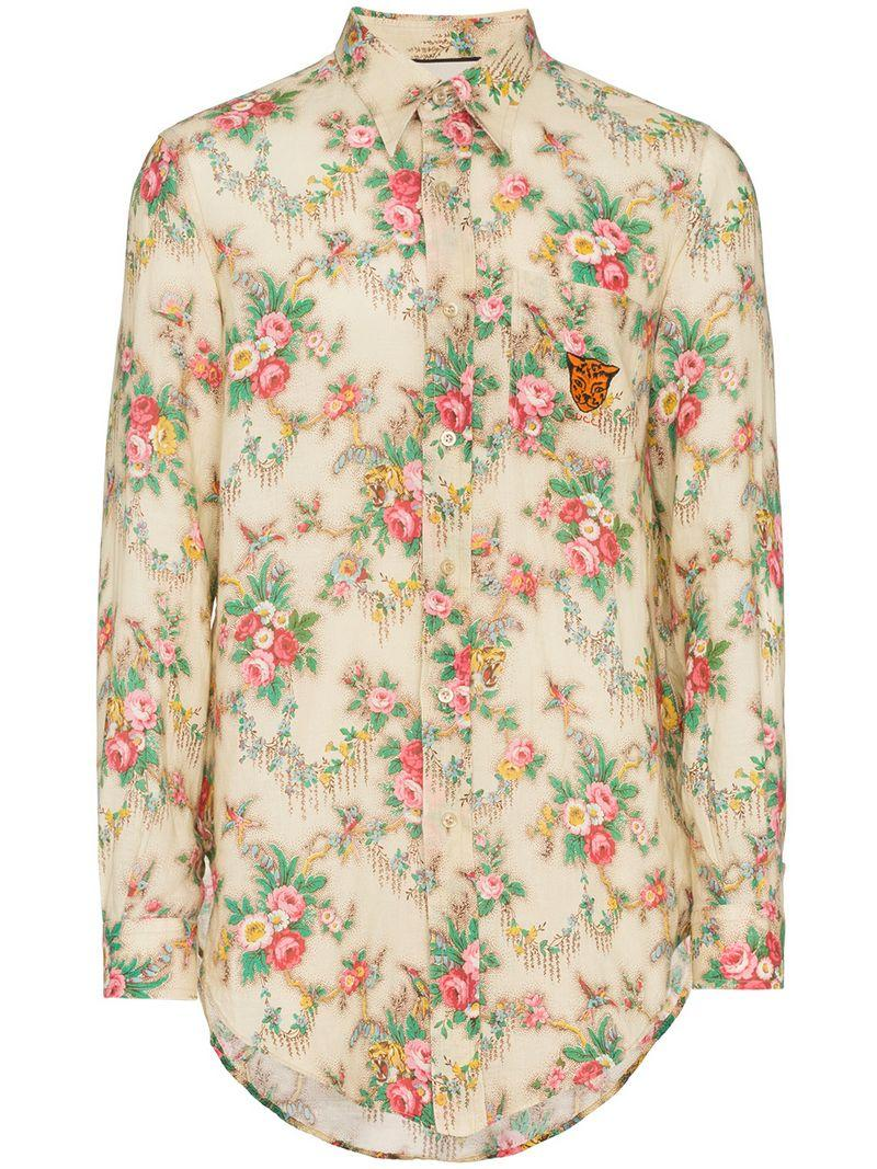 fdca763a246 Gucci Tiger-Embroidered Floral-Print Linen Shirt In 9275 Beige Floral