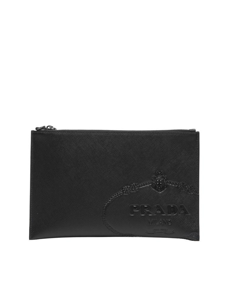 5be7c7a03879 Prada Embossed Leather Clutch Bag In Nero