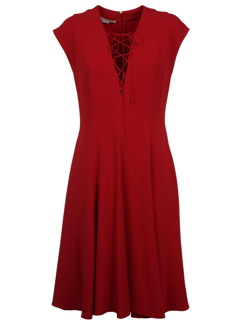 Paula Lace-up Pleated Stretch-crepe Dress In Red