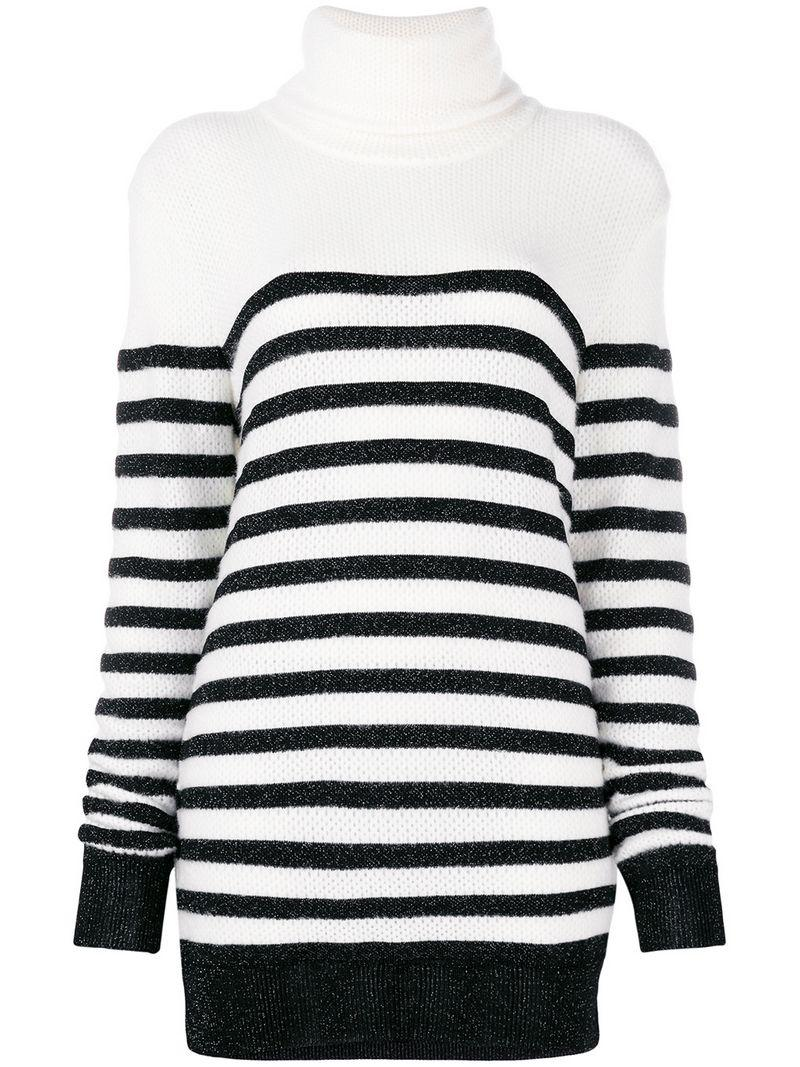 abdf7a85f0e Balmain Oversized Striped Jumper - White