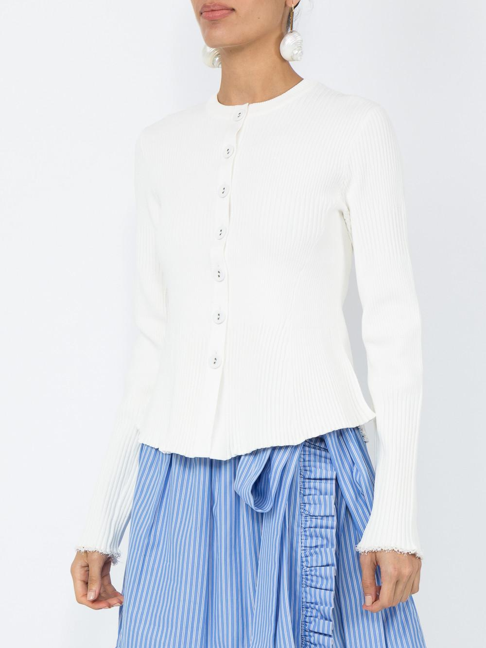 d2f0316a48fa Proenza Schouler Button-Front Long-Sleeve Ribbed Peplum Cardigan In White