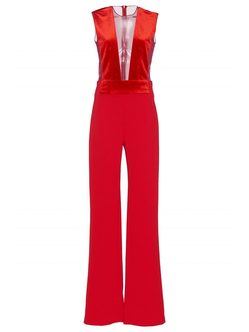 0aad3474fede Galvan Gwyneth Velvet And Tulle-Paneled Crepe Jumpsuit In Red