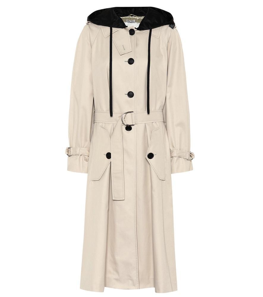 7c2ecb8cc62 Miu Miu Oversized Cotton-Poplin Trench Coat In Beige