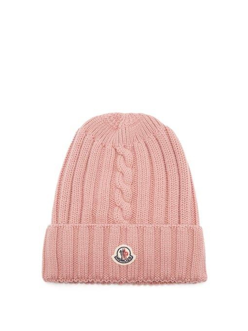 094c99b77 Moncler Ribbed-Knit Wool Beanie Hat In Pink