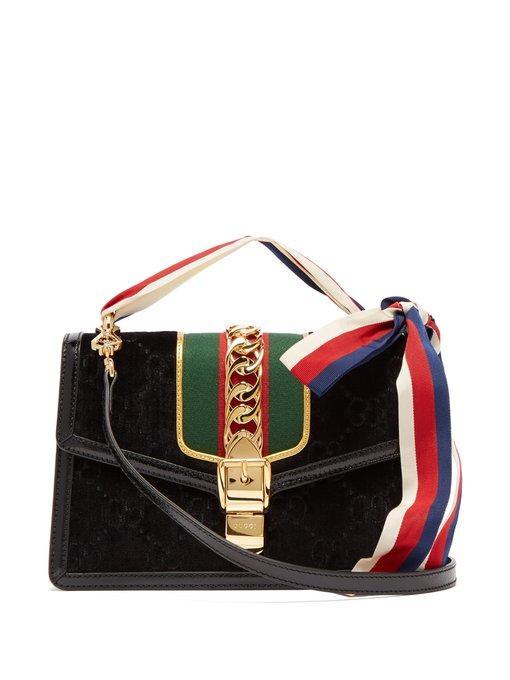 f86c2119978 Gucci Small Sylvie Velvet Shoulder Bag - Black In 8711 Black Oro ...