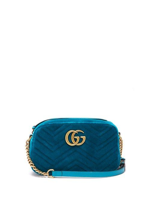 ca3471b8b46 Gucci Gg Marmont Quilted-Velvet Cross-Body Bag In Green