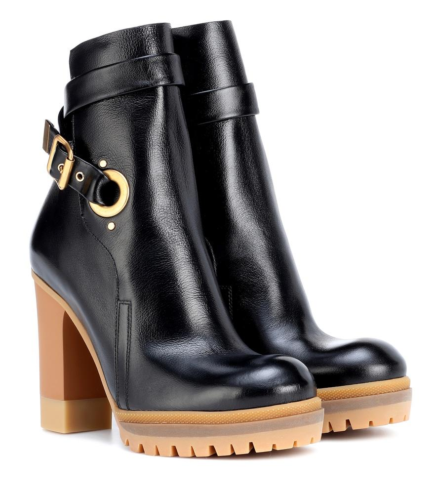 791581d7eff Suzey Glossed-Leather Platform Ankle Boots in Black