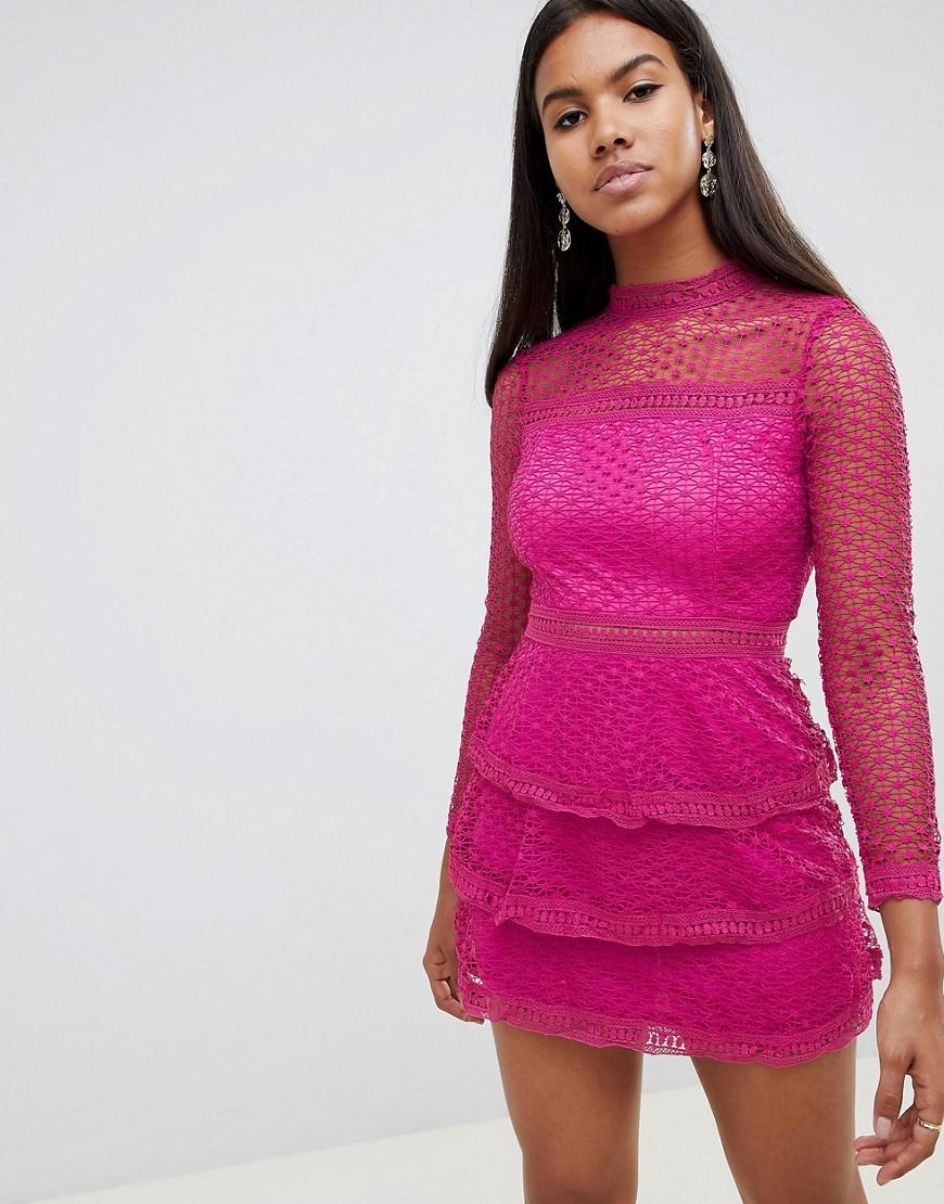 f23659c13cf Ax Paris Long Sleeve Crochet Lace Mini Dress With Tiered Skirt - Pink