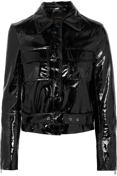 1e5c2620f Bliza Cropped Patent Leather Jacket in Black