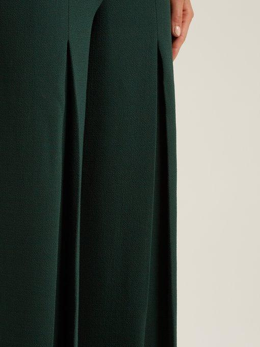 Roland Mouret - Burton Wool Crepe Wide Leg Trousers - Womens - Green
