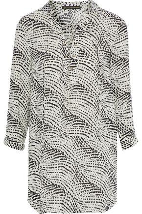 154dfd777e148 Vix Paula Hermanny Woman Ellie Lace-Up Printed Gauze Tunic Stone ...