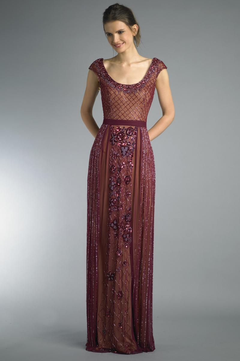 006c708c32 Basix Black Label Burgundy Cap Sleeve Embroidered Evening Gown ...
