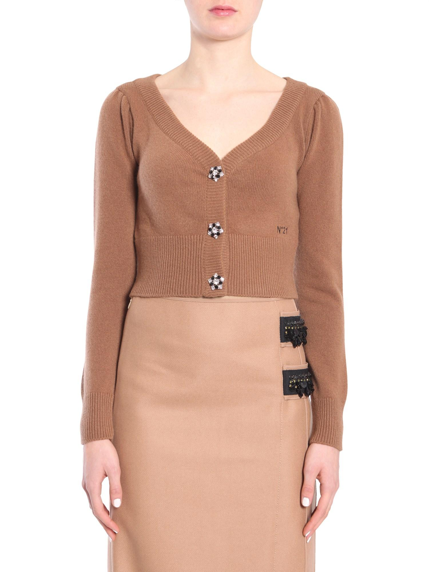 N°21 Nº21 Cropped Embellished Button Cardigan - Brown
