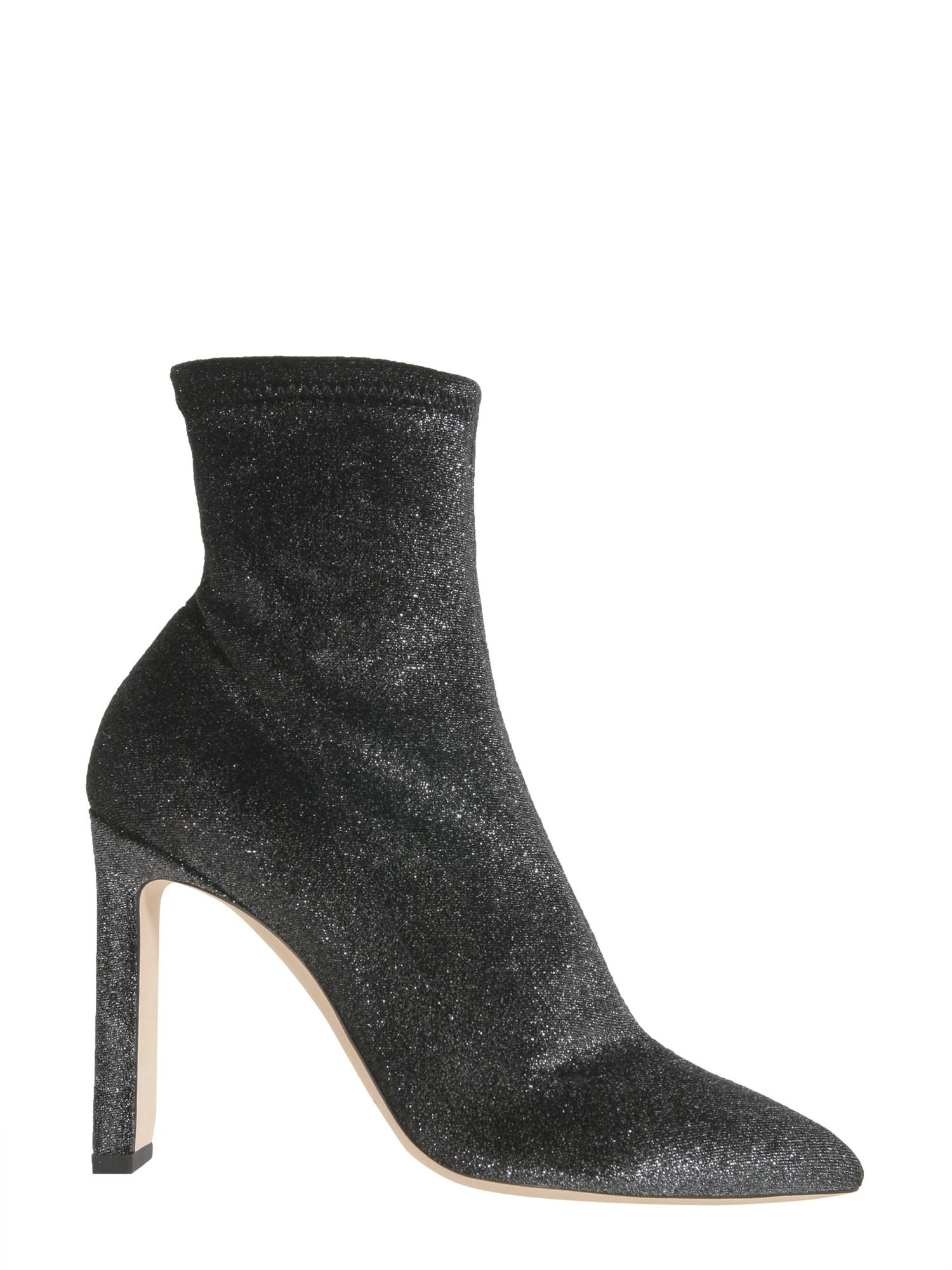 e9b7a76ccb28 Jimmy Choo Louella 100 Black Crushed Velvet Stretch Boot In Grey ...