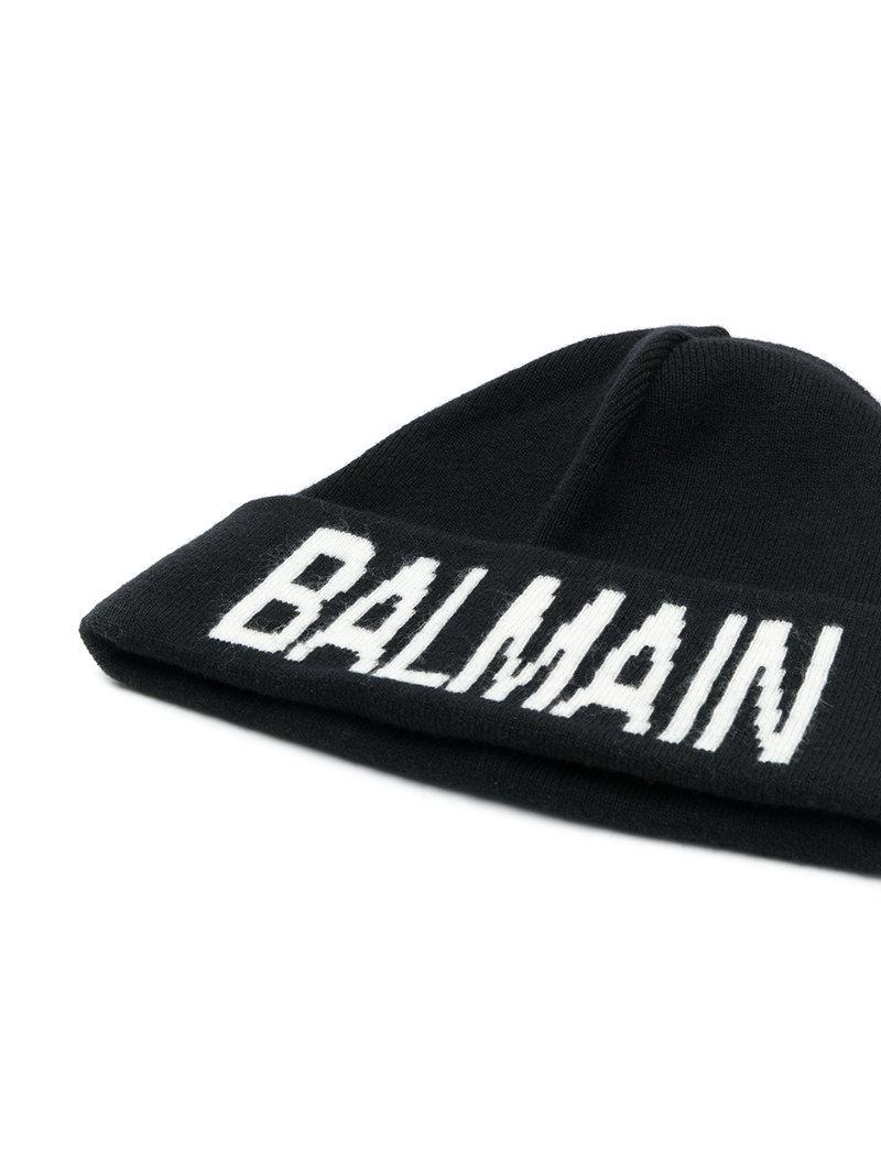 d407f4dcb26 Balmain Black Branded Beanie