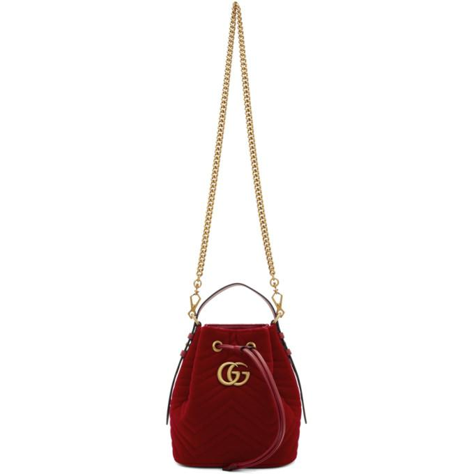 136867a62731f6 Gucci Red Velvet Gg Marmont 2.0 Bucket Bag In 6433 Red   ModeSens