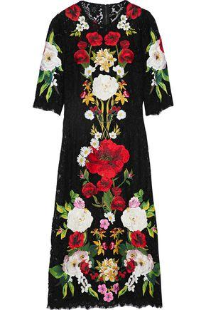 Dolce & Gabbana Woman Embroidered Cotton-Blend Corded Lace Midi Dress Black