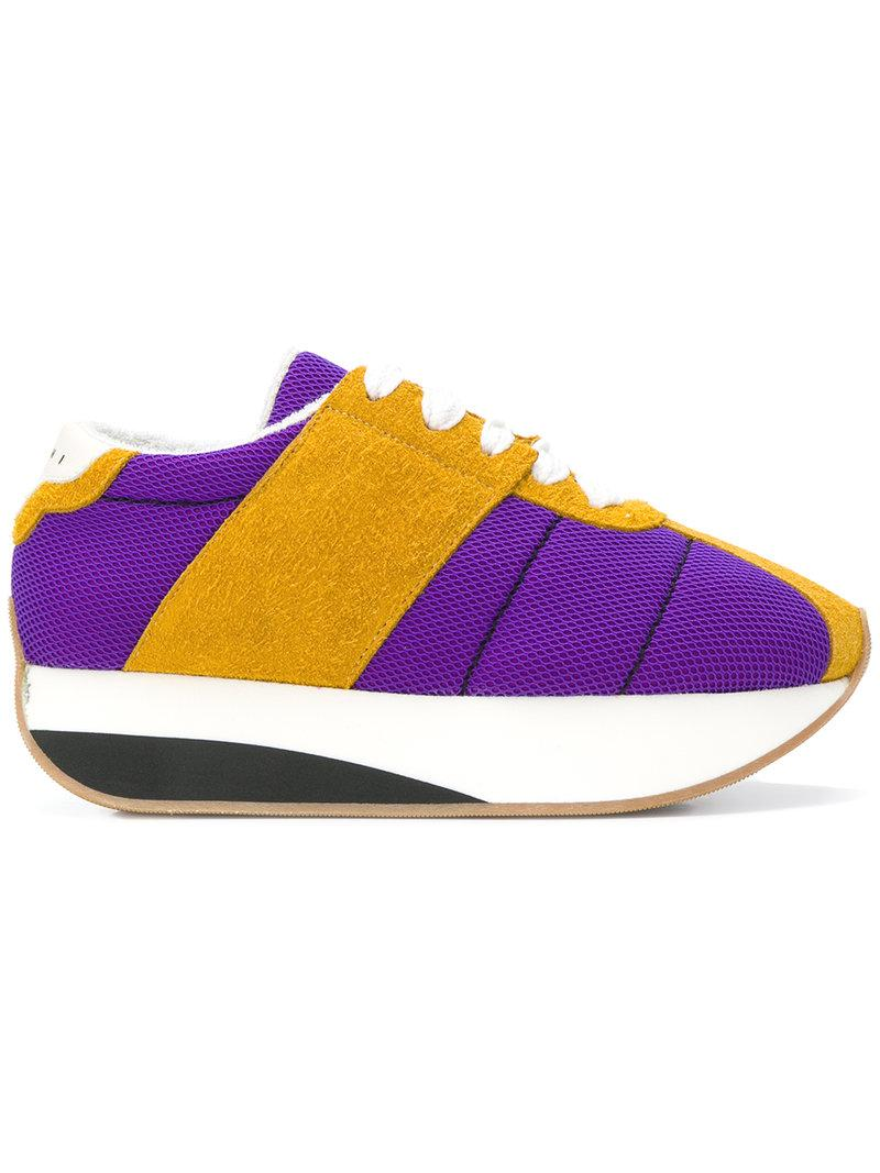 191364f8527 Marni Platform Sneakers With Suede And Mesh In Purple