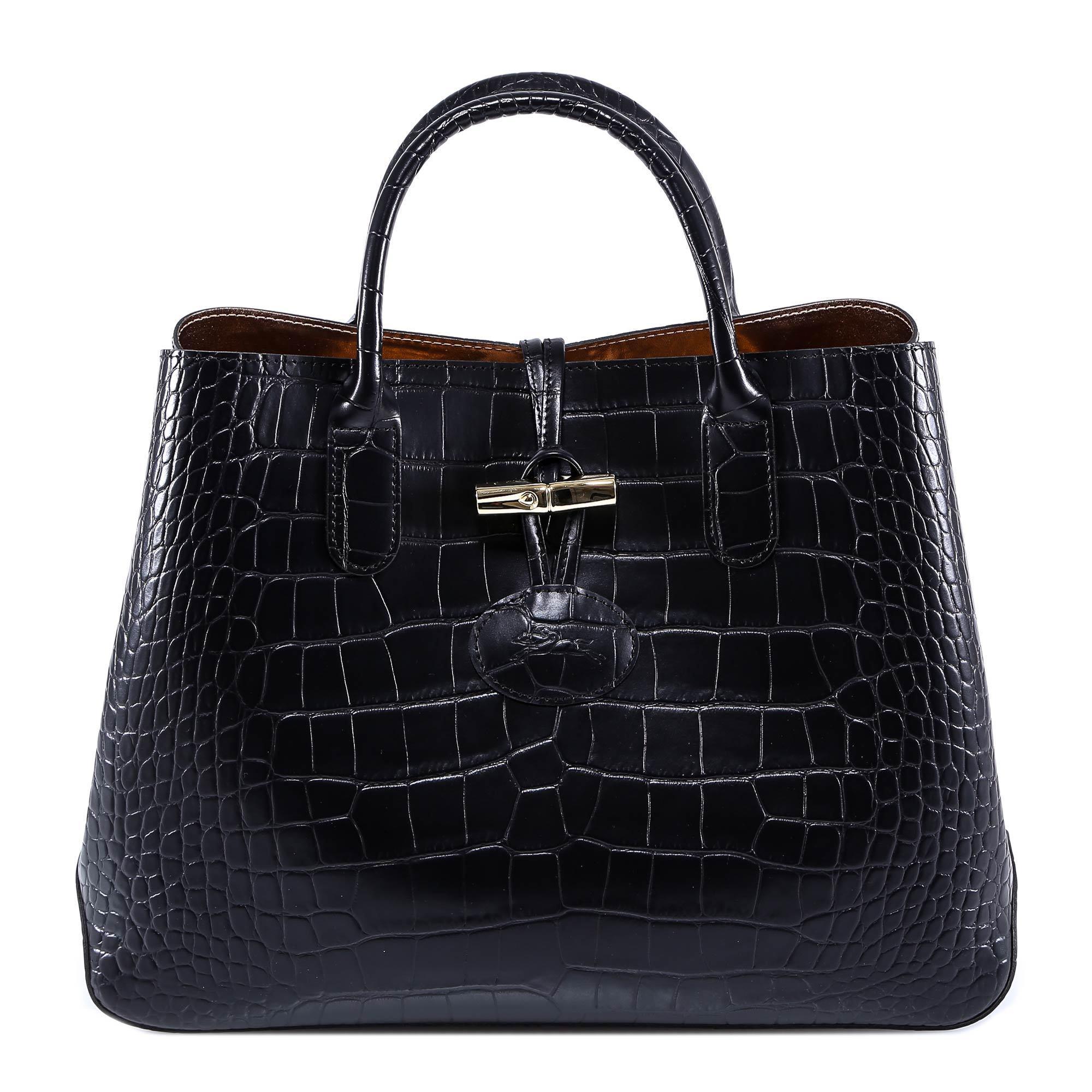 Longchamp Roseau Crocodile S Tote Bag In Black