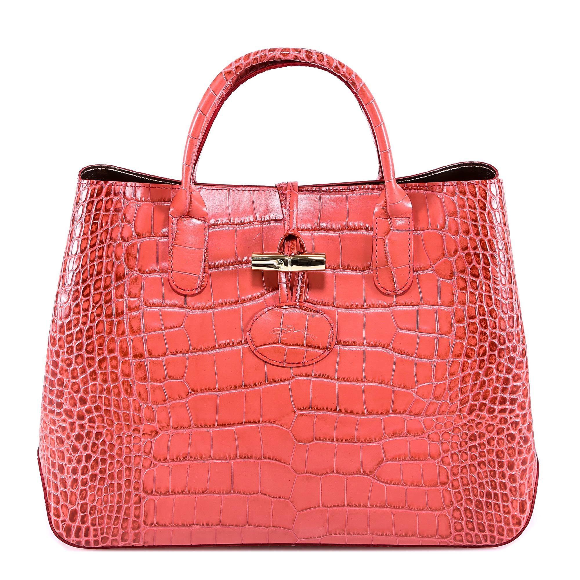 Longchamp Roseau Crocodile S Tote Bag In Pink